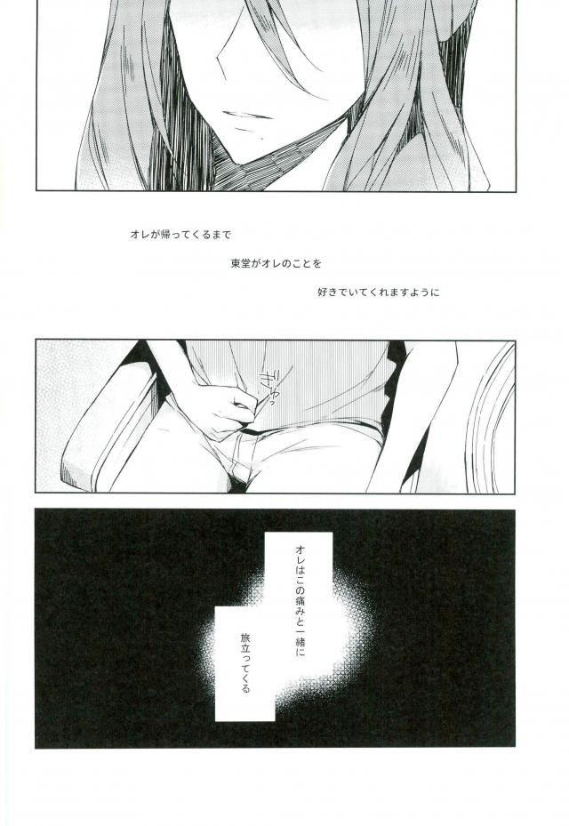 【弱虫ペダル BL同人】渡英を言い出せないまま明日に控えた巻ちゃんは、東堂に会いに箱根へと向かう・・・何も言えず、それでも気持ちが高ぶって激しいセックスをした2人の恋の行方が気になる1冊www 044