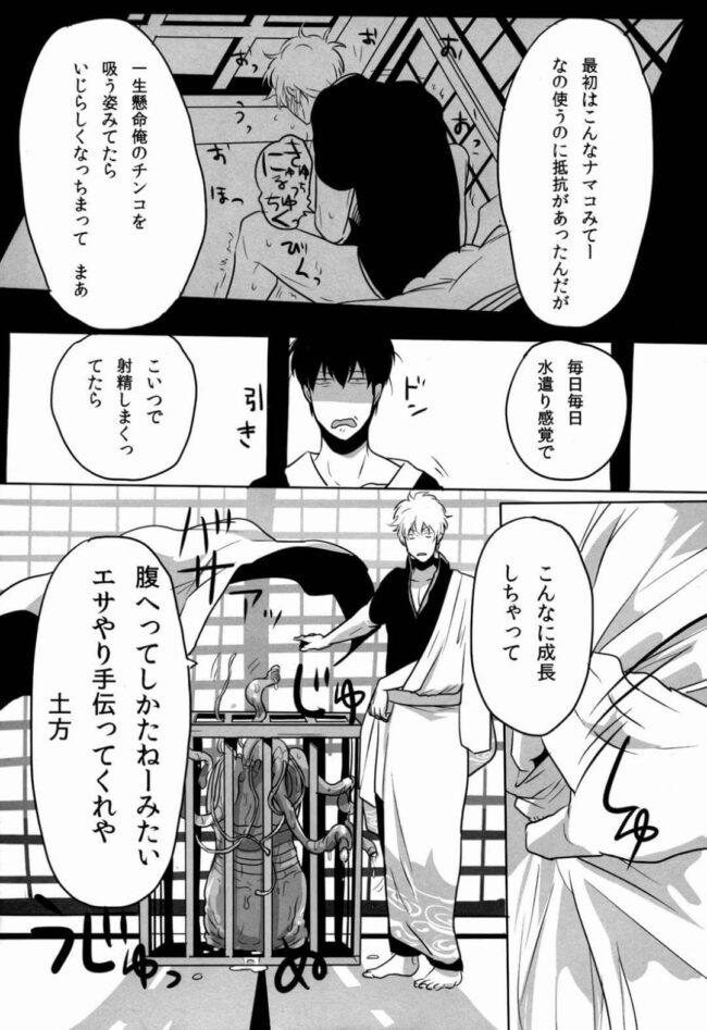 【銀魂 エロ同人】銀時が巨大化したオナホに土方を襲わせるwww【無料 エロ漫画】 (5)
