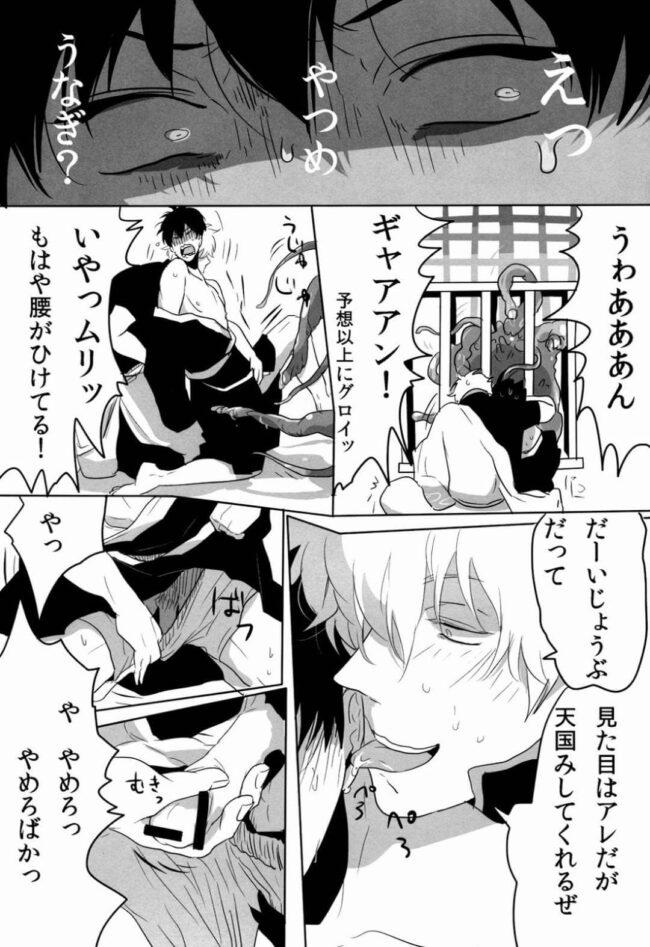 【銀魂 エロ同人】銀時が巨大化したオナホに土方を襲わせるwww【無料 エロ漫画】 (9)